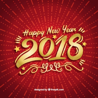 Fond de nouvel an en rouge et or