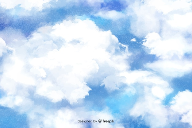 Fond de nuages blancs aquarelle