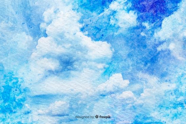 Fond de nuages blancs aquarelle