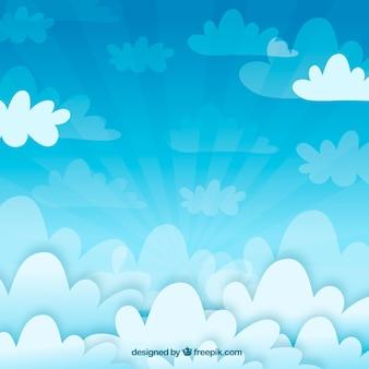Fond de nuages dans un design plat