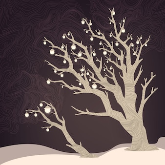 Fond de nuit avec arbre et lampes dessus.