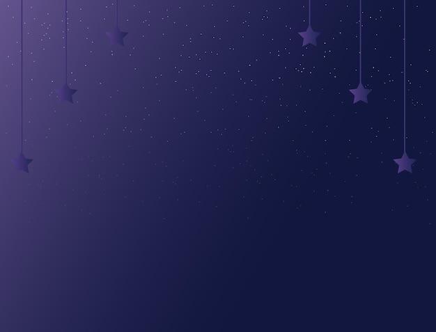 Fond de nuit de couleur violet foncé avec des étoiles scintillantes
