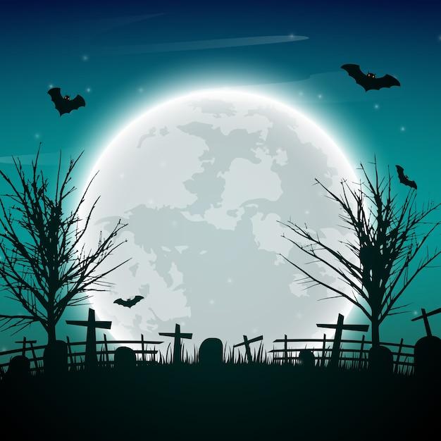 Fond de nuit de halloween avec des arbres nus