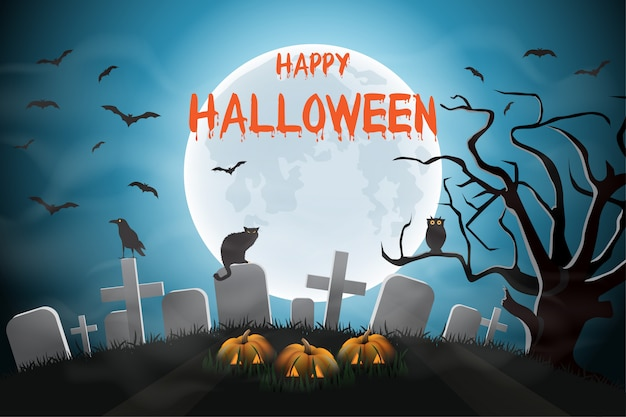 Fond de nuit d'halloween avec un cimetière et des citrouilles et de la lune.