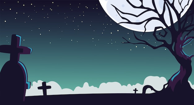 Fond de nuit d'halloween avec un cimetière et une lune