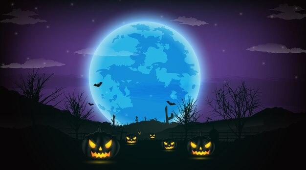 Fond de nuit de halloween avec citrouille, arbres nus