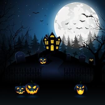 Fond de nuit halloween avec citrouille, illustration vectorielle