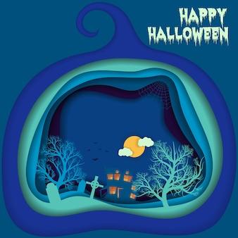 Fond de nuit de halloween avec citrouille, maison comptée et lune.