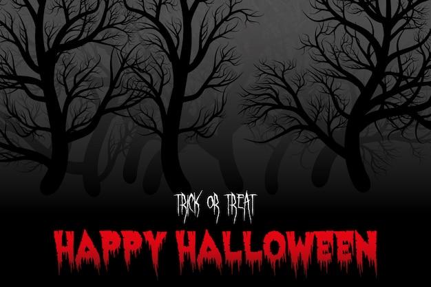 Fond de nuit halloween heureux avec la silhouette de la forêt.