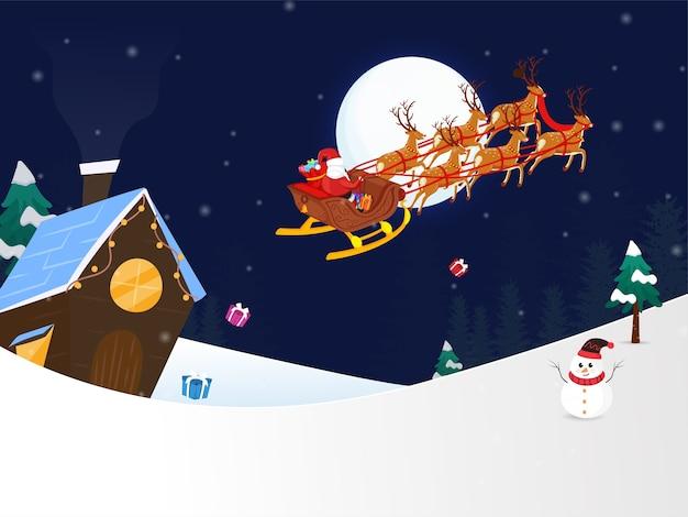 Fond de nuit d'hiver avec le père noël à cheval sur un traîneau de rennes