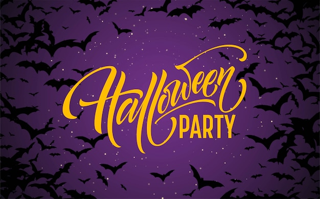 Fond de nuit rougeoyante halloween avec des chauves-souris. calligraphie, lettrage.