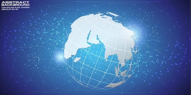 Fond numérique avec carte du monde