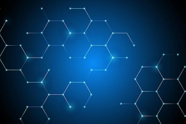 Fond numérique de connexion réseau en nid d'abeille