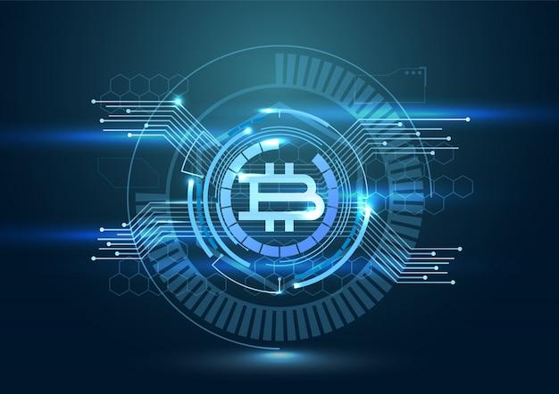 Fond numérique futuriste avec bitcoin. concept de crypto-monnaie.