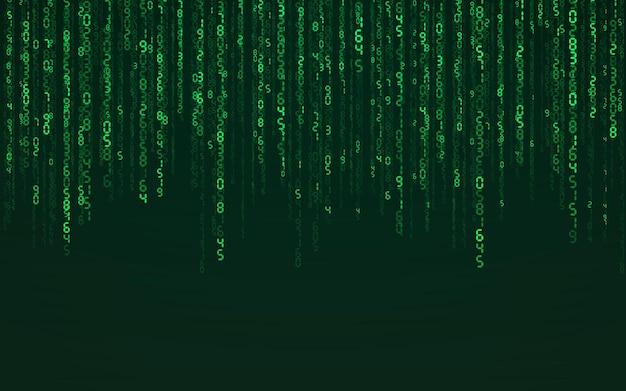 Fond numérique de matrice verte. technologie de réseau numérique en baisse de nombres. cyberespace futuriste. illustration vectorielle.