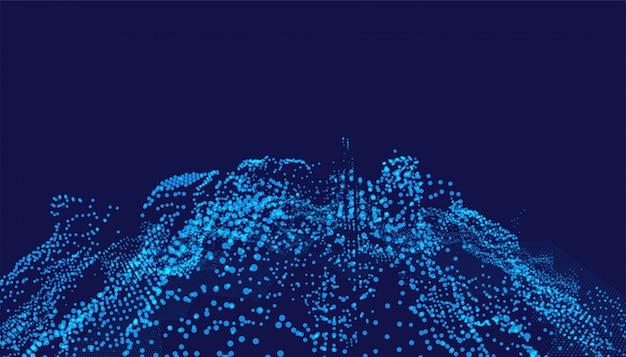Fond numérique avec des particules de technologie rougeoyantes