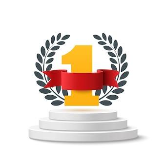 Fond numéro un avec ruban blanc, rouge et branche d'olivier sur piédestal rond isolé sur blanc. modèle d'affiche ou de brochure.