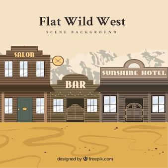 Fond occidental avec hôtel et saloons en design plat