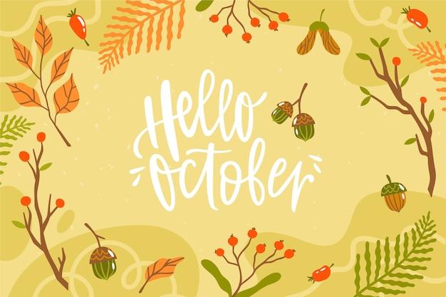 Fond d'octobre bonjour dessiné à la main