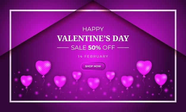 Fond d'offre de vente de saint valentin réaliste avec coeur