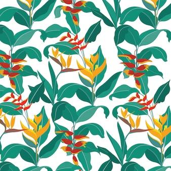 Fond d'oiseau de paradisbotanica motif de papier peintfond de la nature