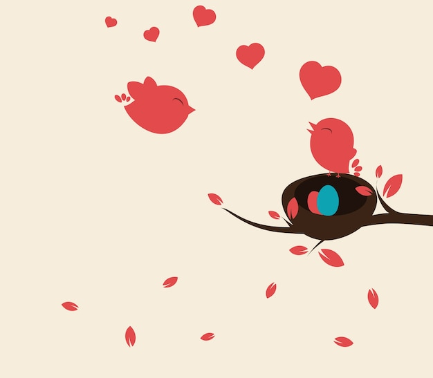 Fond d'oiseaux couple
