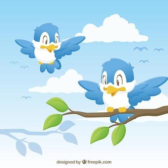 Fond d'oiseaux mignons