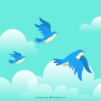 Fond avec des oiseaux volants bleus