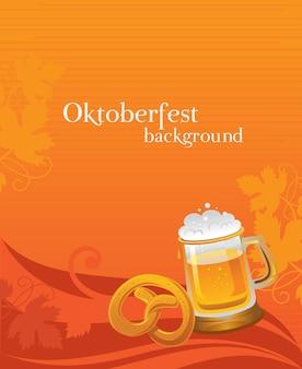 Fond d'oktoberfest avec bière et bretzel