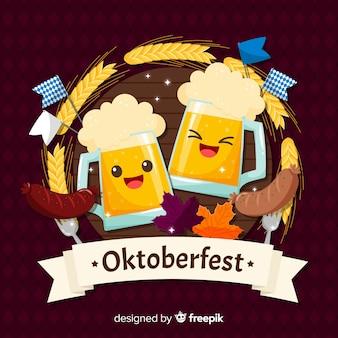 Fond oktoberfest avec des bières heureuses