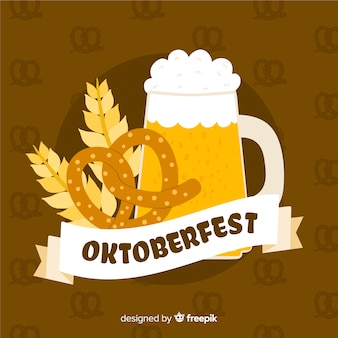 Fond d'oktoberfest dessiné à la main avec une chope de bière