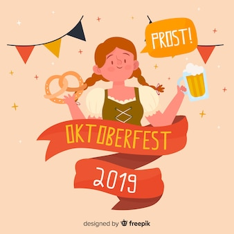 Fond d'oktoberfest dessiné à la main avec personnage
