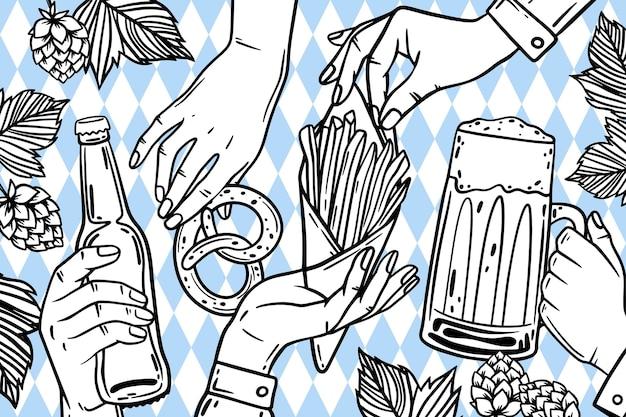 Fond d'oktoberfest dessiné à la main