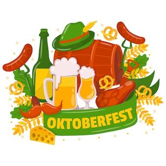 Fond oktoberfest avec des éléments traditionnels