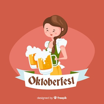 Fond de l'oktoberfest avec femme portant des pots