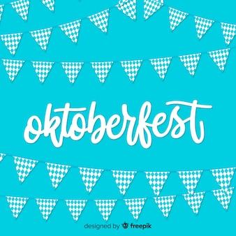 Fond de l'oktoberfest avec des guirlandes blanches et bleues