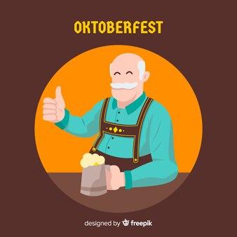 Fond de l'oktoberfest avec un homme heureux