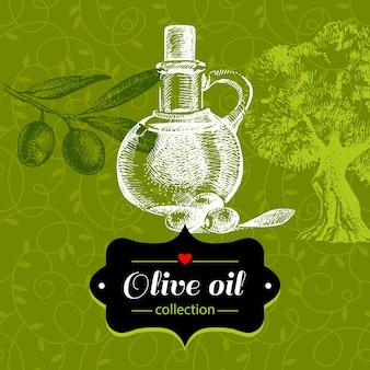 Fond olive vintage avec illustration de croquis dessinés à la main et motif floral. conception de paquet