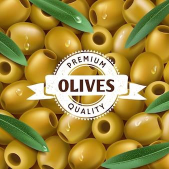 Fond d'olives vertes réalistes, avec des feuilles. étiquette d'olive, icône. illustration