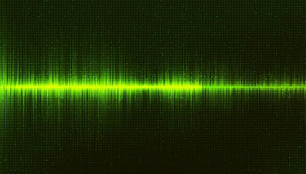 Fond d'ondes sonores numériques vert