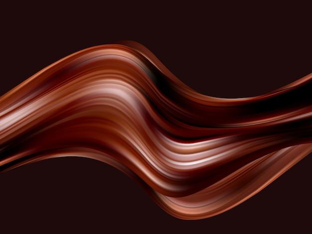 Fond ondulé au chocolat. vagues abstraites de chocolat satiné.