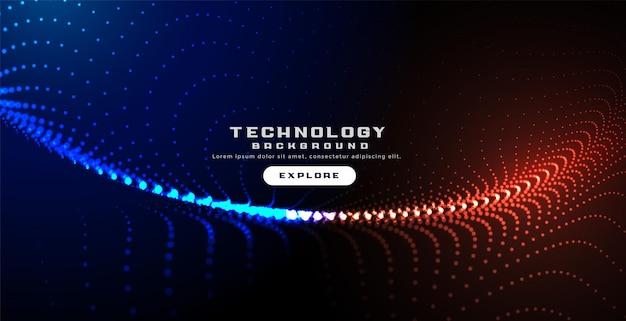 Fond ondulé numérique de particules de technologie rougeoyante