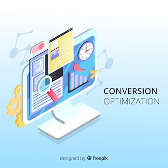Fond d'optimisation marketing isométrique