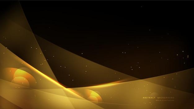 Fond d'or élégant avec bokeh et lumière brillante. design de fond abstrait luxe or brillant.