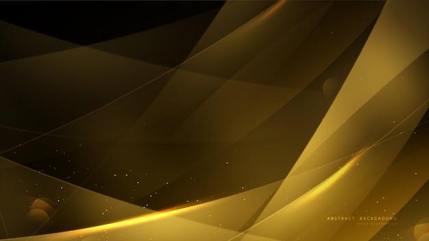 Fond d'or élégant avec bokeh et lumière brillante.