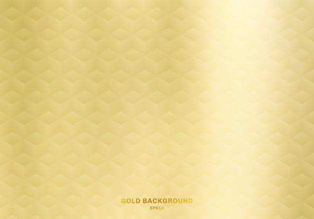 Fond d'or géométrique 3d cubes réalistes