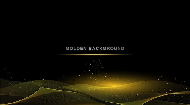 Fond d'or de luxe, élément de design abstrait vague couleur brillante or avec effet de paillettes.