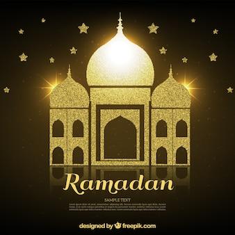 Fond d'or avec ramadan mosquée et étoiles