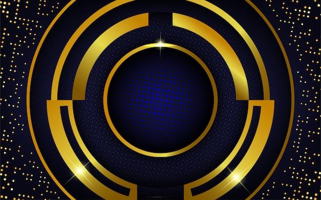Fond d'or réaliste moderne avec des points bleus