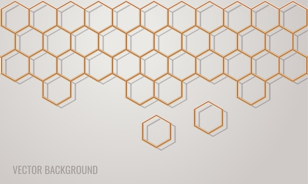 Fond d'or réaliste en nid d'abeille hexagonal. fond moderne simple.